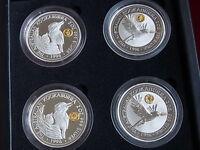 Australia. 1996  2oz - Silver Kookaburras..4 Pce Set with Gold Privy Marks.