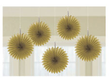 5 x Gold paper fans hanging decorations Golden 50th Anniversary Party Decoration