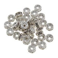 150 Glas Strass Rondell Spacer perlen 6 mm ALTSILBER KLAR CRYSTAL DIY R41#3