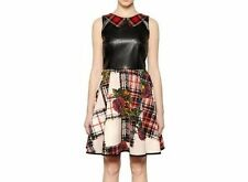 I'M ISOLA MARRAS faux leather with plaid collar and floral neoprene skirt Dress