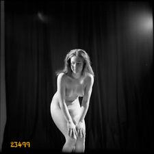 nude girl in home made studio, vintage fine art negative, 1970's