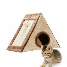 Triangular Cat Cave Bed Tent Kitty House Pet Cat Cage Beige Cushion Foldable Bed