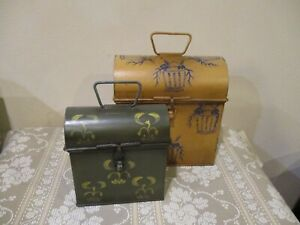 Home Decor Decorize Metal Flip Top Storage Boxes, Indonesia (2pcs)