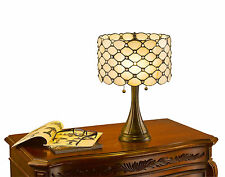 "Tiffany Style Contemporary Jeweled White Table Lamp 16"" Shade 2 Lights New"