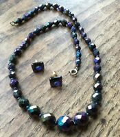 Vintage Glass Crystal Aurora Borealis Necklace AB Purple with Similar Earrings