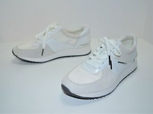 NEW MICHAEL KORS MK WOMEN'S SHOES SIZE 7.5 BILLIE CREAM LEATHER SNEAKERS WHITE