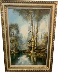 Original Antique Oil Painting Large Oil on Board 24X32 American Primitive Folk Art Style Landscape Waterfall River Trees