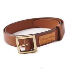 New $295 SANTONI Medium Brown Calf Leather Belt with Gold Buckle 38 (95cm)