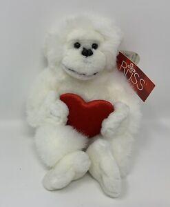 "Russ Mambo Baby Gorilla Monkey White Plush Stuffed Animal Toy Holding Heart 9"""