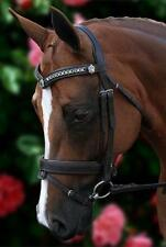 NEW Havana Leather Silver Chain V Horse Bridle padded reins - Cob, Full, WB size