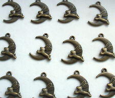 10 Hare Leaping the Moon Charms Pagan Wicca Bronze Tone Metal 22mm