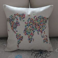 Colorful Cat World Map Cotton Linen Cushion Cover Throw Pillow Home Decor B361