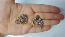 Vintage Lavender Rhinestone Juliana Gold Tone Clip On Earrings