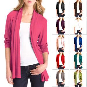Womens Long Sleeve Cardigan Ladies Jacket Tops with Pockets Ladies Wrap Dress