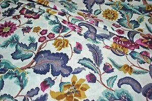 White Floral 100%Cotton Batik Hand Block Printed Dress Material Craft Fabric