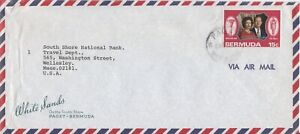 Bermuda -1972 - 15c QEII Silver Wedding Commercial Air Mail Cover - Paget Cancel