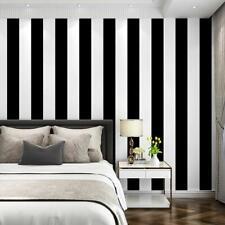 Self Adhesive Vinyl White Black Stripe Contact Paper Peel and Stick Wallpaper 3D