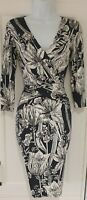 Womens Phase Eight Blue White Floral Crossover Draped Ruched Bodycon Dress 8.