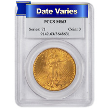 1907 to 1927 $20 St. Gaudens Gold Double Eagle PCGS MS63 Random Year
