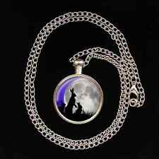 Moon Gazing Hare Family Glass Image Pendant necklace UNIQUE pagan gift present