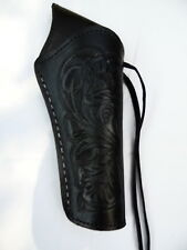 "Cross Draw Western Holster- DeLuxe -  Right - 6"" Barrel - Black - Tooled Leather"