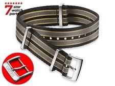 For SEIKO Watch NATO Nylon BLACK GREY Strap Band Buckle Clasp Solar 5 Sport HQ