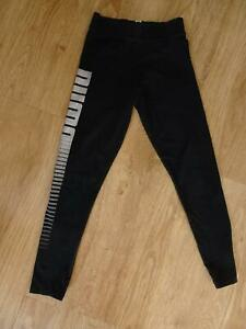PUMA girls black print leggings AGE 9 - 10 YEARS EXCELLENT COND