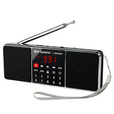 Portable FM Stereo/AM Radio Super Bass Blutooth Multimedia MP3 Speaker+Track New