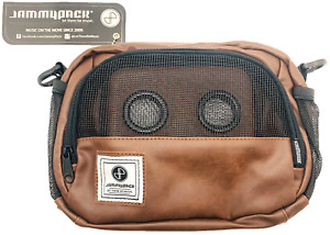 Jammypack Shoulder Strap Bag Purse Pack Two Audio Speakers Utility Faux Brown