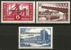 Germany Saar French Occupation 1955 MNH Referendum Mi-362-364 SG-359/361