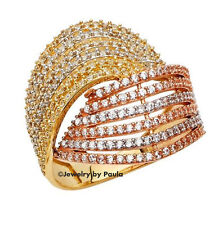 14K Genuine 3 Tone Gold Fancy Ring with Man made Diamonds