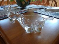 Reduce Vintage Clear Glass Donkey Ash Tray Or Candy/Relish Dish-Nut-Bar Ware-(D)