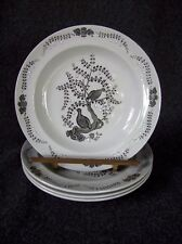 Set of 4 Salad Plates Wedgwood Partridge in a Pear Tree TK489 Gray White