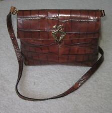 Authentic Paolo Masi Made In Italy Brown Leather Designer Bag Shoulder Purse