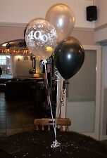 40th Birthday Balloons 10 Table Decorations, Black and Silver (or other colours)