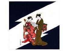 "Full-Size 100% Rayon Japanese Chirimen Furoshiki Bento Cloth 27""x27.5"" Bijin"