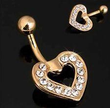 Open Heart Cubic Zirconia GOLD gep Navel Belly Bar