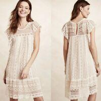 Anthropologie Maeve Sz S Ivory Crochet Boho Cap Sleeve Dress Romantic Lined
