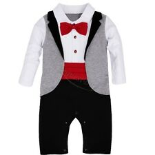 Baby Boy Wedding Party Tuxedo Suits Bowtie Romper One-Piece Outfit 0-24M NEWBORN