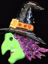 Halloween Fun Scary Purple Green Witch Hat Face Pin Brooch Pendant Slide Jewelry