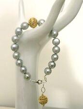 """Genuine Pearl Bracelet 7.5"""" 8"""" 9"""" Huge Vintage Artisan 22Kt Gold Vermeil Silvery"""