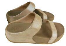 Fitflop Nude LuLu Shimmer Suede Slide Sandals WobbleBoard UK 3 EU 36 - 506137
