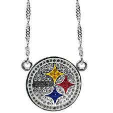 Pittsburgh Steelers Crystal Silver Plated Necklace NFL Football License Jewelry