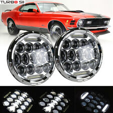 Pair 7inch LED Headlights Chrome Upgrade Set For Ford Plymouth Classic Car Truck