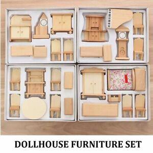 Dollhouse Unpainted Wooden Furniture Sets 1/24 Miniature Accessories