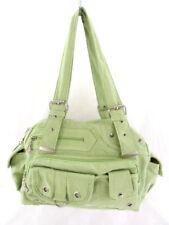 Tasche Damen Umhängetasche Grün Reißverschluss Stoff Knitteroptik  Nieten