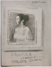 Greetings With Woman-Herbert Benevy Frame Shop-Lithograph-1950s?-Raphael Soyer
