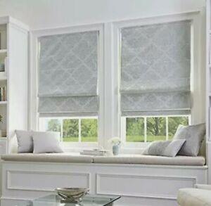 "Curtainworks Peri Home Cordless Damask Roman Shade 27"" W x 64"" L Silver"