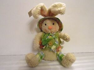 Weighted White SPRING BUNNY RABBIT with Straw Hat EASTER SPRING DECORATION
