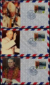 Guatemala C756 on set of 3 pope Cachet airmail envelopes - Natl. Mortgage Bank